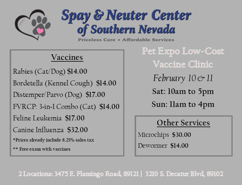 Spay and Neuter Clinic Vaccine Schedule